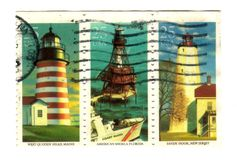 Old postage stamps from USA with Lighthouses Stock Photo