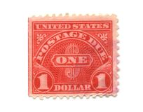 Old postage stamps from USA one Dollar. Old postage due stamps from USA one Dollar stock image
