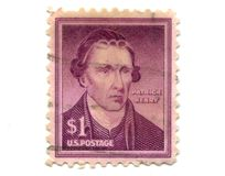 Old postage stamps from USA one dollar. Partrick Henry Royalty Free Stock Photos