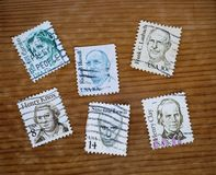 Old postal stamps. Close up of old postal stamps royalty free stock images