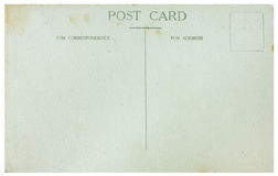 Old Postcard. Reverse side of plain old unused postcard on white background Royalty Free Stock Photos
