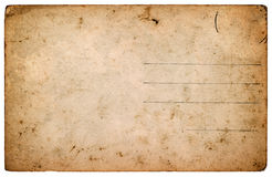 Old postcard. aged blank paper sheet isolated on white Royalty Free Stock Photo