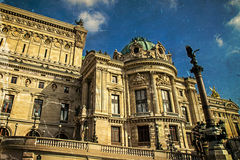 Old postcard with architectural details of Opera National de Par Royalty Free Stock Photography
