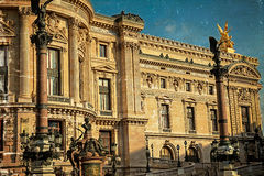 Old postcard with architectural details of Opera National de Par Royalty Free Stock Image