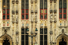 Old postcard with architectural facade detail at one old building. Bruges, Belgium royalty free stock images