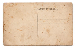 Old postcard. Old blank postcard isolated on white royalty free stock images