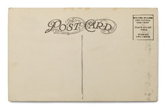 Old Postcard. Old Blank Postcard Isolated on a White Background royalty free stock images