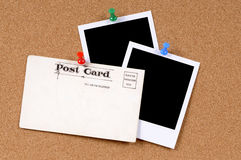 Old post card polaroid photo frame prints copy space Stock Images