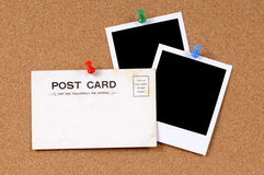Old postcard with blank photo prints Stock Photography