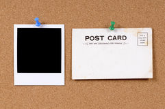 Old post card blank polaroid photo frame copy space Royalty Free Stock Photos
