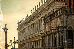 Old postcard of buildings at San Marco square in Venice Stock Image