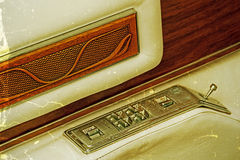Old postcard with detail of a car door inside opener 1 Stock Photography