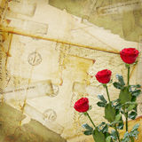 Old Postcard with envelopes and rose. Vintage aged background, old Postcard, envelopes and rose Royalty Free Stock Photo