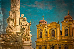 Old postcard with German Dome and Holy Trinity Statue. Timisoara Royalty Free Stock Photography