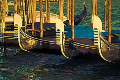 Old postcard with gondolas on Grand Canal in Venice, Italy Royalty Free Stock Images