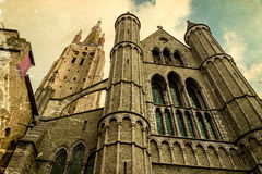 Old postcard with gothic facade of the Church of Our Lady, Bruge Royalty Free Stock Photos