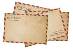 Old airmail ostcard. Old Postcard isolate on white background stock photos