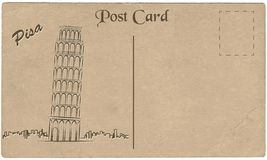 Old postcard from Italy with painted Leaning Tower of Pisa. Stylization. Stock Photo