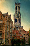 Old postcard with look belfry from the Rozenhoedkaai, Historic C Stock Photography
