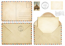 Old postcard, mail envelope, open letter, stamp collection stock image