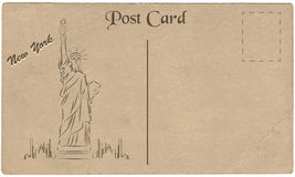 Old postcard from New York, USA with a drawing of Statue of Liberty. Stylization. Stock Photography