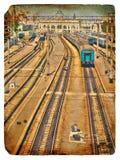 Old postcard. Old Railway Station. Stock Photo