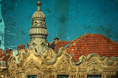 Old postcard of one historical building.Timisoara, Romania 29 Stock Photo