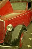Old postcard with one old car 3 Royalty Free Stock Image