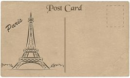 Old postcard from Paris with a drawing of the Eiffel Tower. Stylization. Stock Image