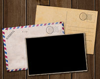 Old postcard, photo and envelope. Royalty Free Stock Images