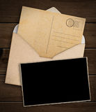 Old postcard, photo and envelope Royalty Free Stock Photo