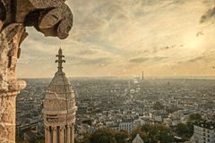 Old postcard with rooftop and aerial view from Sacre Coeur Basil Royalty Free Stock Photo
