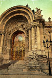 Old postcard with view at Petit Palais entrance in Paris Royalty Free Stock Photography
