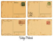 Old postcards. Four set of vintage postcards stock illustration