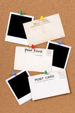 Old post cards blank polaroid frame photo prints copy space Stock Image