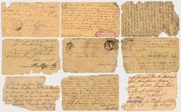 Old postcards with calligraphic handwriting Stock Photography