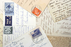 Old postcards and hand writing Royalty Free Stock Photo