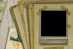 Old postcards and polaroid frame background royalty free stock photography