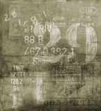 Old Poster. An old grunge poster with abstract codes and numbers on it Stock Images