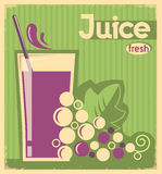 Old poster of grape juice on old paper texture Royalty Free Stock Photo