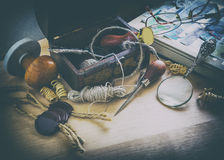 Old postman accessories. Old accessories postman, mail, print, still life, business, photo in old style image Royalty Free Stock Photo