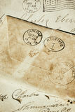 Old postmarked envelopes. Royalty Free Stock Photo