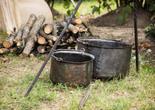 Old pots for cooking on camping Royalty Free Stock Images