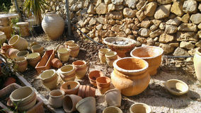 Old pots for garden Royalty Free Stock Image