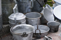 Old pots and pans Royalty Free Stock Photo