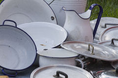Old pots and pans Royalty Free Stock Images