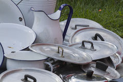 Old pots and pans Stock Images