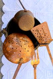Old pots and pans Royalty Free Stock Photos