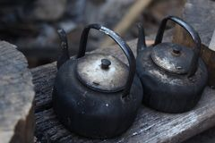 Old pots on top of the wood Stock Images