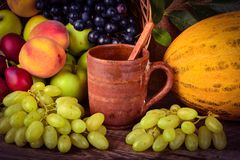 Old potters clay mug and colorful fruits, still life Royalty Free Stock Photo